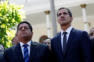 Mr Edgar Zambrano (left), vice-president of the opposition-controlled National Assembly, which Venezuelan opposition leader Juan Guaido (right) heads, was seized by the SEBIN intelligence agency on Wednesday.