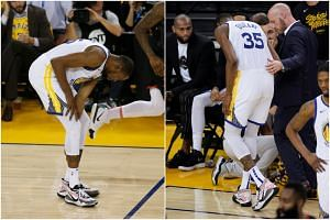 Golden State Warriors' Kevin Durant limped off the court with a leg injury during the third quarter of his team's Game 5 battle with Houston Rockets on May 8, 2019.