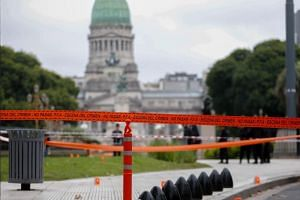 The cordoned off area near the Congress of the Nation, where member of the ruling party, Argentine deputy Hector Olivares, of the Radical Civic Union, was attacked in Buenos Aires, Argentina, on May 9, 2019.