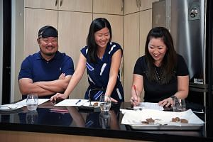 The Sunday Times did a blind taste test, comparing the plant-based meats with the real stuff. Judges were (from left) Mr Michel Lu, executive chairman of Revolver Asia, which specialises in mergers and acquisitions in the food and beverage industry; Food