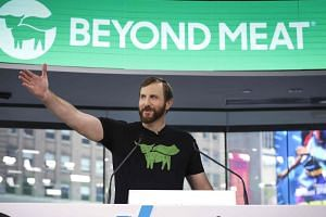 Beyond Meat CEO Ethan Brown speaks before ringing the opening bell at Nasdaq MarketSite in New York City on May 2, 2019.