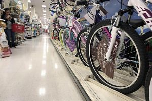 Bicycles, which were produced in China, lined up for sale in a Target store in Los Angeles, California, on May 13, 2019.