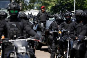 Indonesian military preparing for the general election in Jakarta on April 14, 2019. Security agencies are scrambling to foil a suspected plot by a local militant group to set off bombs during protests after official results are announced.
