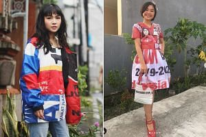 (Left) A jacket made out of different political party flags by artist Harits Alfadri Dewanto, who wanted to convey a message of unity after the election. He combined the logos of competing parties in his creation. (Right) A model showing off an outfi