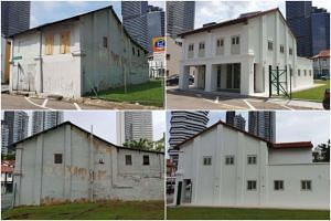 Shophouses at 45 Sultan Gate before and after restoration, the first state properties to be launched for tender.