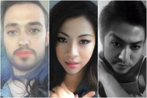 (From left) US actress Kat Dennings, and local singers Benjamin Kheng and Narelle Kheng tested out the new Snapchat gender-swop filter.
