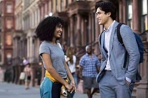 Racially ambiguous models Yara Shahidi and Charles Melton (both left) in an urban setting with rapid edits and a driving soundtrack make this seem like an advertisement.