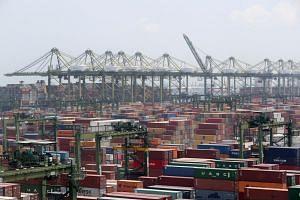 Cranes and containers at Pasir Panjang Terminal on Aug 16, 2018.