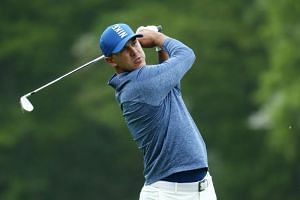 Brooks Koepka of the United States plays his second shot on the fourth hole during the second round of the 2019 PGA Championship at the Bethpage Black course on May 17, 2019, in Farmingdale, New York.