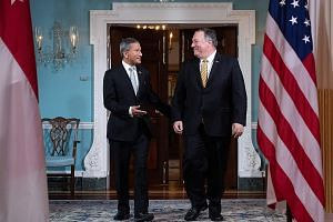 Foreign Minister Vivian Balakrishnan with United States Secretary of State Mike Pompeo before attending meetings at the State Department in Washington last Thursday. Dr Balakrishnan was on a four-day working visit to Washington that ended last Friday