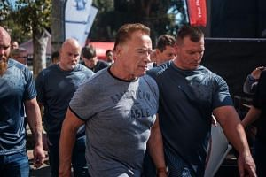 Hollywood star Arnold Schwarzenegger was chatting with fans at the Sandton Convention Centre in Johannesburg when a man took a flying leap and kicked him high in the back.
