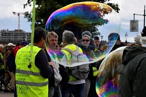 Yellow vest protesters and environmental activists take part in a march against agrochemical giant Bayer-Monsanto in Bordeaux, on May 18, 2019.