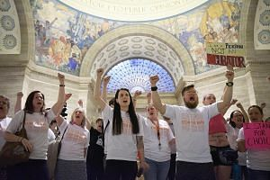 Abortion rights activists protesting last Friday after Missouri state passed a Bill that bans abortions the moment a foetal heartbeat is detected. PHOTO: NYTIMES