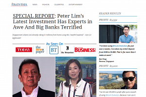 """The advertisement claims to be written by """"Straits Times"""" and promotes a """"new secret investment"""" endorsed by Mr Peter Lim which has """"experts in awe""""."""
