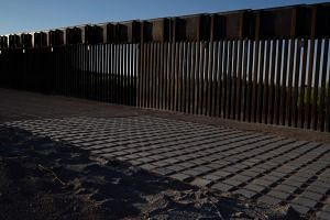 Recently-installed fencing at the US-Mexico border near Santa Teresa in New Mexico, USA on April 30, 2019.