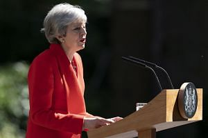 Britain's Prime Minister Theresa May announces her decision to resign outside 10 Downing Street, London on May 24, 2019.