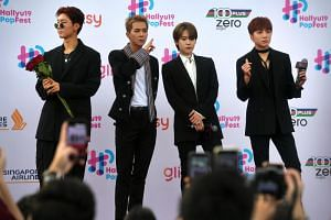 Four-piece group Winner was met with the greatest fanfare, with adoring fans chanting the group's name even before they got to the red carpet.