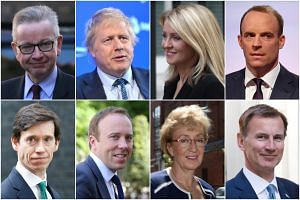(Clockwise from top left) Michael Gove, Boris Johnson, Esther McVey, Dominic Raab, Jeremy Hunt, Andrea Leadsom, Matt Hancock and Rory Stewart, who have announced that they are running to become Britain's next prime minister.