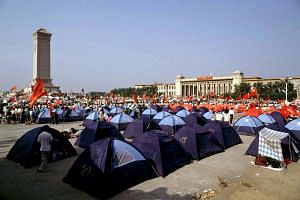 Pro-democracy demonstrators pitch tents in Beijing's Tiananmen Square, China, on May 31, 1989.