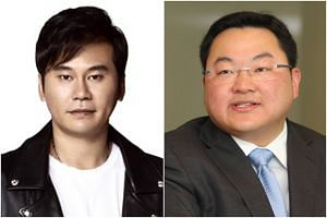It was alleged that YG Entertainment head Yang Hyun-suk (left) hosted dinner parties and procured prostitutes for two wealthy investors, Jho Low and a man from Thailand, in July 2014.
