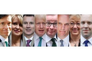 Contenders in the running to replace Theresa May as Britain's prime minister include (from left) Rory Stewart, Esther McVey, Jeremy Hunt, Boris Johnson, Michael Gove, Dominic Raab, Andrea Leadsom, and Matt Hancock.