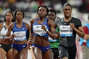 South Africa's Caster Semenya in action before winning the women's Diamond League 800m in Doha.