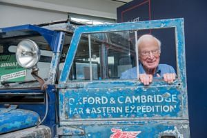 Mr Tim Slessor with Oxford, the Land Rover Series I that he drove from London to Singapore between 1955 and 1956 and which he will be driving again from Singapore to London.