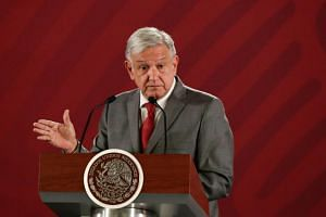 Mexico's President Andres Manuel Lopez Obrador attends a news conference at the National Palace in Mexico on May 31, 2019.