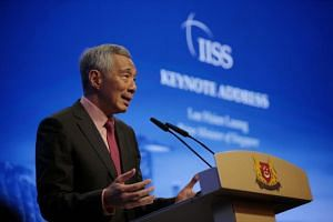 Prime Minister Lee Hsien Loong delivering his keynote speech at the Shangri-La Dialogue on May 31, 2019.