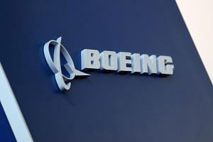 The Boeing logo pictured at a conference at Congonhas Airport in Sao Paulo, Brazil, on Aug 14, 2018.