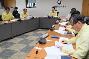 South Korea's vice-minister of Agriculture, Food and Rural Affairs Lee Jae-ouk (back) attends an emergency meeting at the government complex in Sejong, South Korea, on May 31, 2019, following reports of an African swine fever outbreak in North Korea.