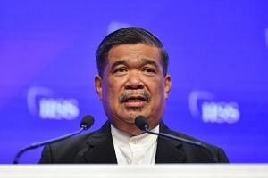 Malaysia's Defence Minister Mohamad Sabu speaking at the Shangri-La Dialogue on June 1, 2019.
