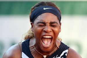 Williams reacts as she plays Sofia Kenin of the US.