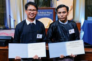 Reuters journalists Wa Lone, 33, and Kyaw Soe Oo, 29, after receiving their Pulitzer prizes on May 28, 2019.