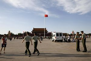 Police officers securing Tiananmen Square in Beijing, China, on June 3, 2019. Thirty years after the Tiananmen incident, the issue still remains taboo.