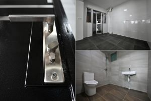 New Housing Board flats will come with finishings such as (clockwise from left) thumb-turn knobs on gates, a streamlined design for the door and window ensemble between the kitchen and service yard, and bathrooms with a wide range of modern designs.