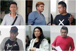 (Clockwise from top left) Cheng Guan Keong, Resshmi B. Rasmi, Muhammad Abdul Raafiq Mohd Fazil, Mohamad Fahrurazi Ismail, Toh Soke Hong and Abdul Shukor Ab Gani were charged with abusing public servants on June 7, 2019.