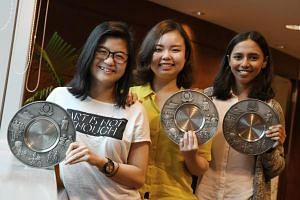 (From left) Ms Ashlynna Ng Rui, Ms Debbi Cheong Pei Lin and Ms Hemaa Shruthi Sekar received Public Spiritedness Awards for assisting in the arrest of a sex offender.