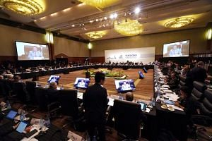 Participants gather prior to the G-20 finance ministers and central bank governors meeting in Fukuoka, Japan, on June 8, 2019.