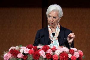 IMF managing director Christine Lagarde speaking at a G-20 seminar on the sidelines of the G-20 meeting, in Fukuoka, Japan, on June 8, 2019.