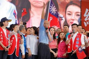 Han Kuo-yu (centre) was among five candidates announced on Monday by the opposition Kuomintang party for its primary election.