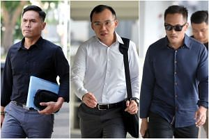 (From right) Singapore Civil Defence Force officer Muhammad Nur Fatwa Mahmood testified as Kenneth Chong Chee Boon, 38, a lieutenant, and Nazhan Mohamed Nazi, 40, a first senior warrant officer, face trial.