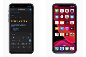 The Dark Mode provides a system-wide dark colour scheme (left) that will work across all native apps.