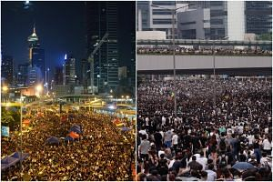 Left: Protesters in Hong Kong's Admiralty district on Oct 10, 2014. Right: Protesters occupy a road during a demonstration against a proposed extradition Bill in Hong Kong on June 12, 2019.