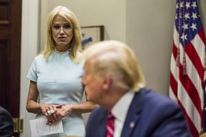 Conway speaks during a round table White House discussion about the opioid crisis.