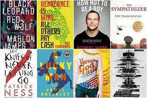 (Clockwise from top left) Black Leopard, Red Wolf by Marlon James, Vengeance Is Mine, All Others Pay Cash by Eka Kurniawan, How Not To Be A Boy by Robert Webb, The Sympathizer by Viet Thanh Nguyen, The Beating And Other Stories by Dave Chua, Vernon G