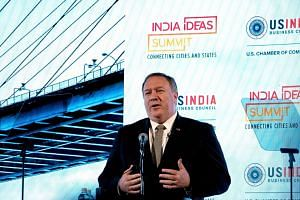 US Secretary of State Mike Pompeo addresses the India Ideas Summit in Washington, DC, on June 12, 2019.