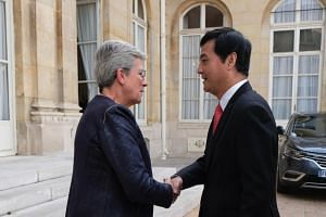 Senior Minister of State for Defence Heng Chee How meets Ms Genevieve Darrieussecq, Minister of State reporting to the French Minister of the Armed Forces, on the sidelines of the 53rd International Paris Air Show on June 18, 2019.