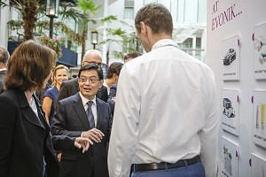 Deputy Prime Minister Heng Swee Keat at the launch of Evonik Industries' new facility yesterday. The new methionine plant on Jurong Island creates more than 100 jobs in Singapore.