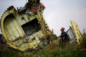 A Malaysian air crash investigator inspects the crash site of Malaysia Airlines Flight MH17, near the village of Hrabove, in Ukraine's Donetsk region, on July 22, 2014.